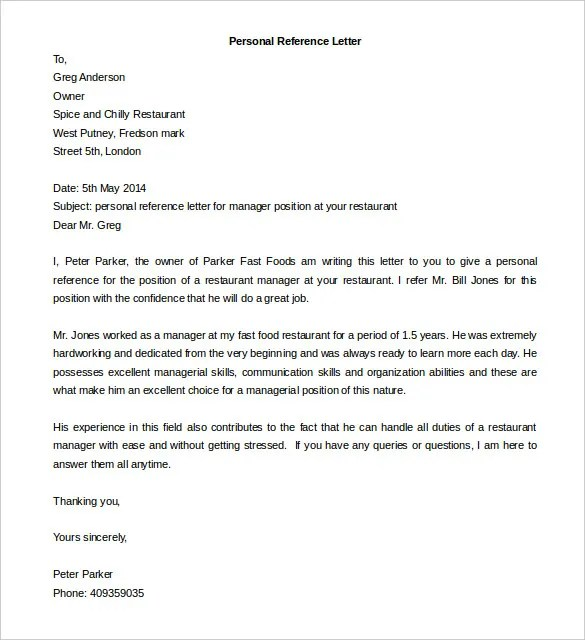 Free Reference Letter Templates 24