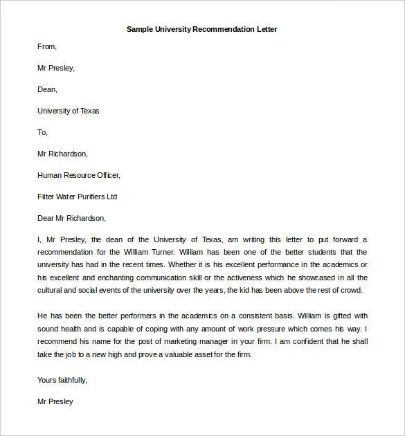 dean recommendation letter sample