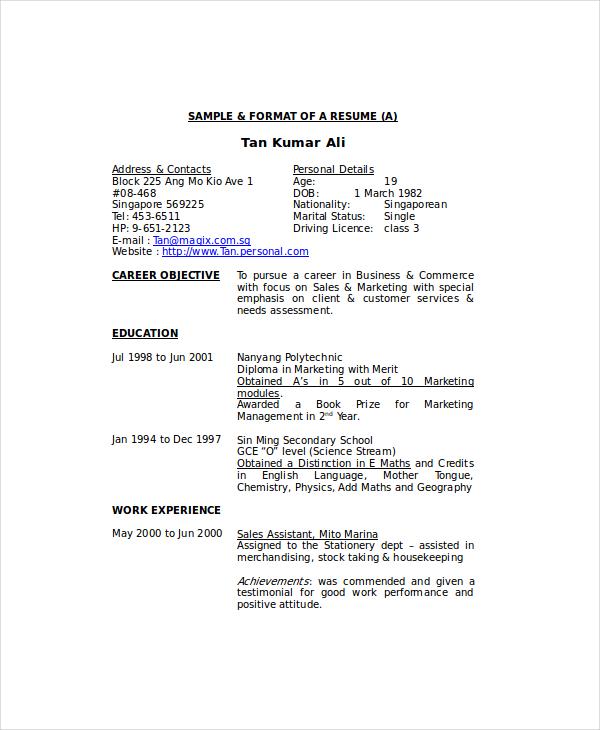 Examples Of Housekeeping Resumes - Resume Sample