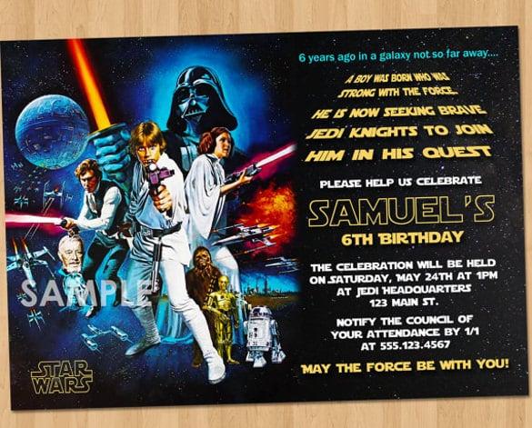star wars birthday party invitations