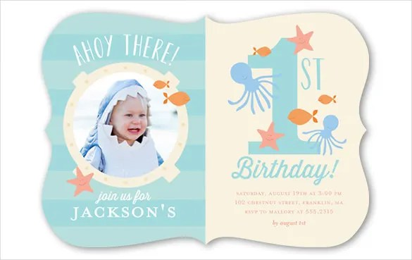 Blue And Pink Coloured First Birthday Invitation