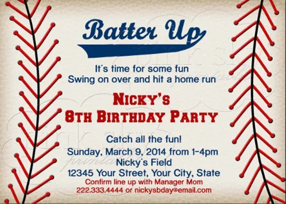 17 baseball birthday invitations