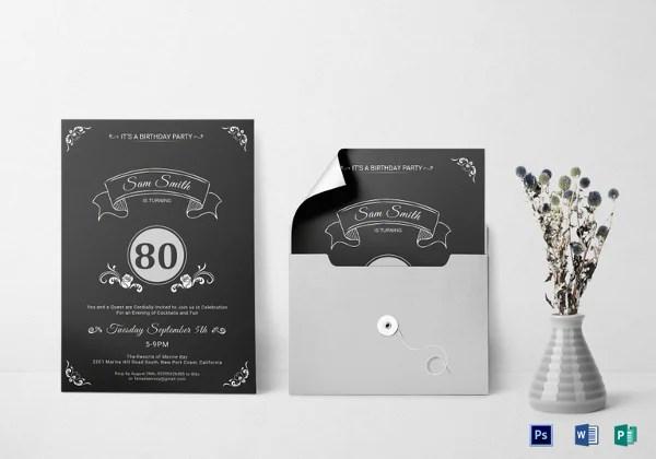26 80th birthday invitation templates