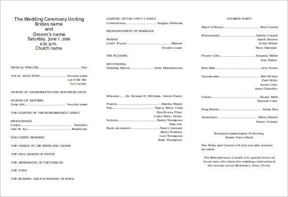 free wedding program template download