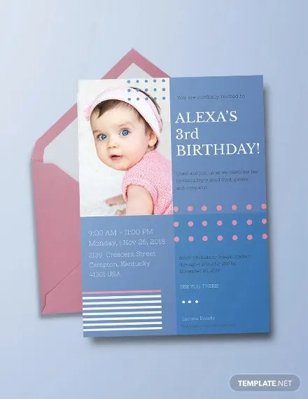 kids birthday invitations psd eps