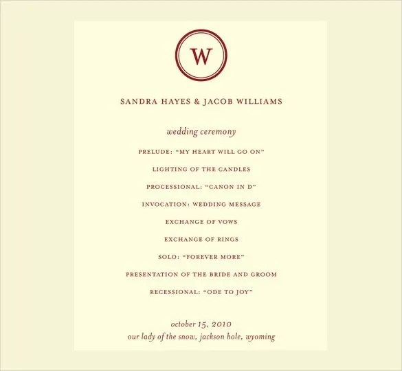 69 Wedding Program Template  Free Word PDF PSD