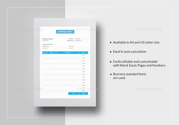 11+ Expense Sheet Templates – Free Sample, Example, Format Download ...
