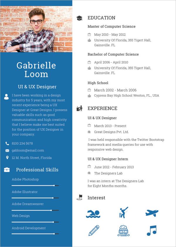 designer templates resume