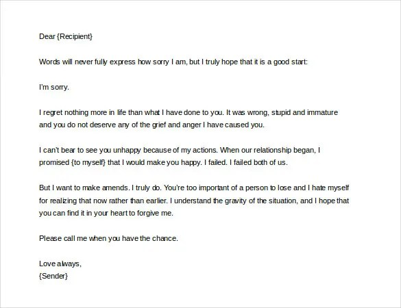 Apology Love Letter Sample Apology Letter To Boyfriend