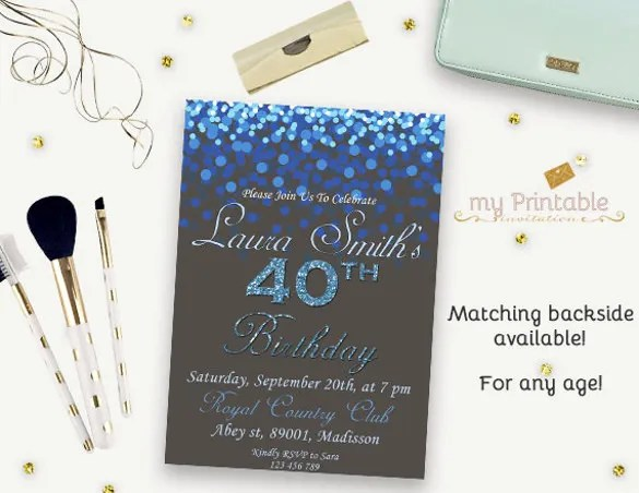 16 40th Birthday Invitations PSD Vector EPS AI Free