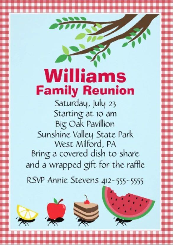 family reunion invitations template