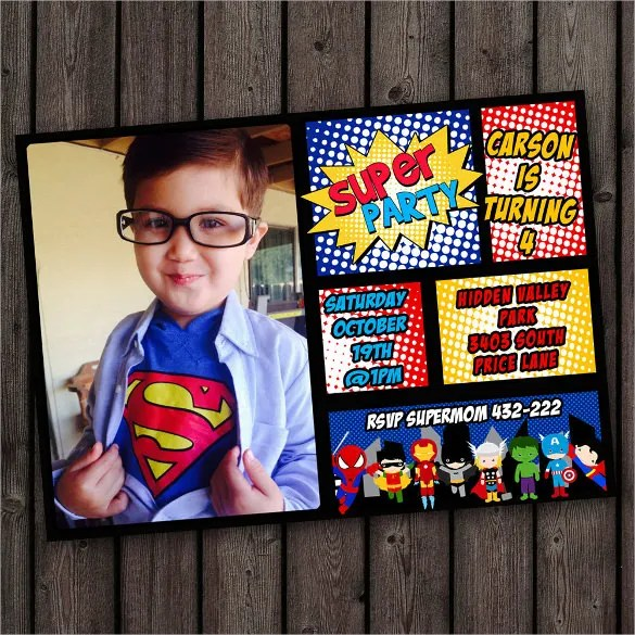 superhero birthday invitation templates
