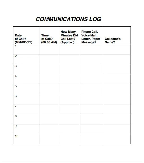 printable phone log sheets