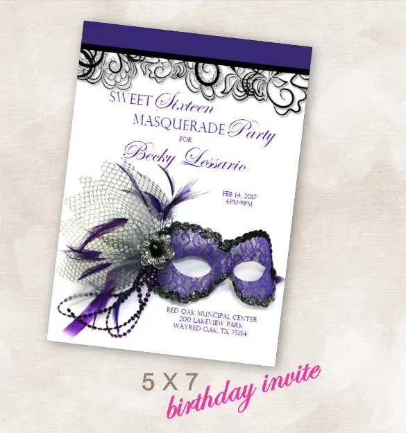 Birthday Party Invite Invitation Sweet Six Masquerade