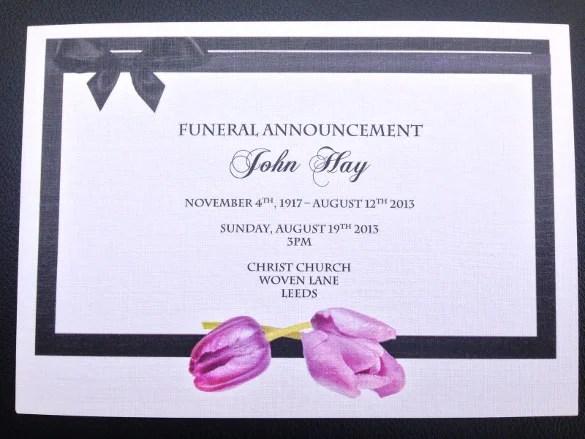 13 Funeral Invitation Templates Free