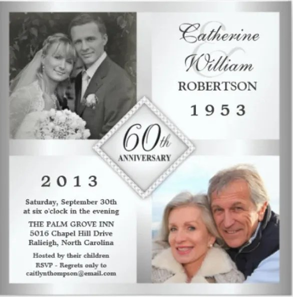 Photo Silver 25th Wedding Anniversary Invitation Card