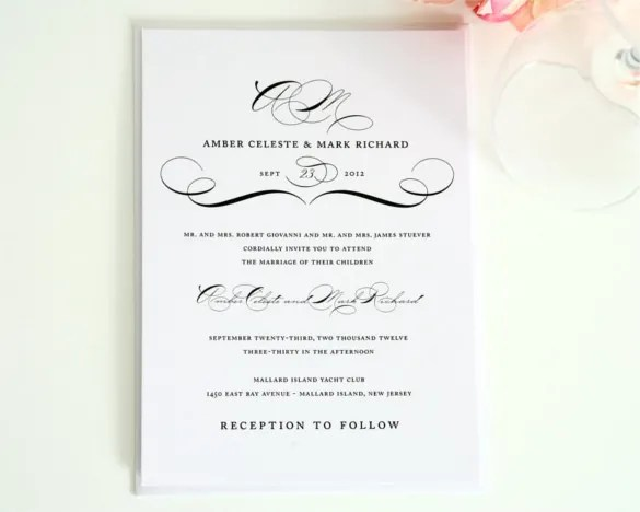 Modern Vine Wedding Invitation Psd Format Template