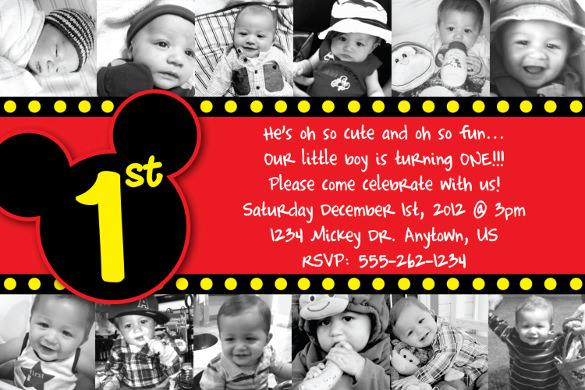 15 Mickey Mouse Birthday Invitation Templates – PSD