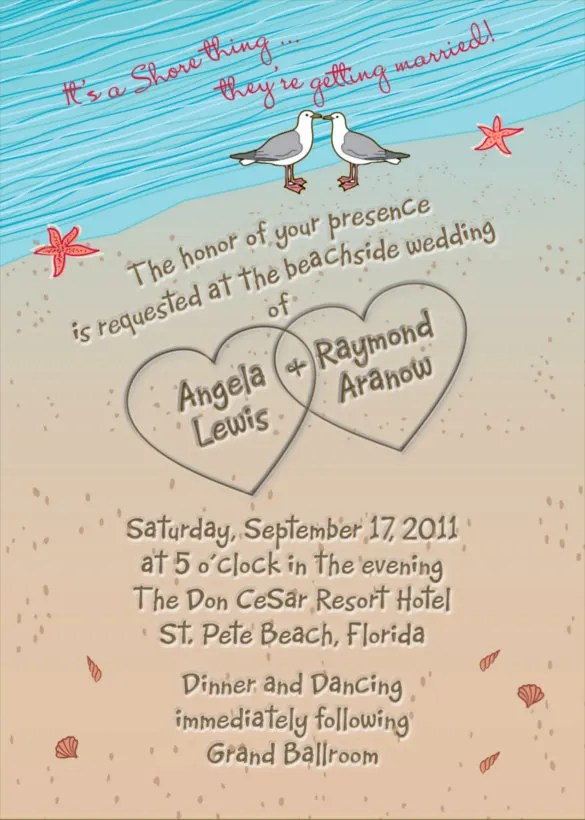 Beach Heart Wedding Invitation Ppt Format Template Free