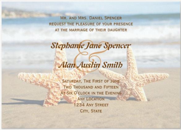 Starfish Couple Beach Wedding Invitation Psd Format Template