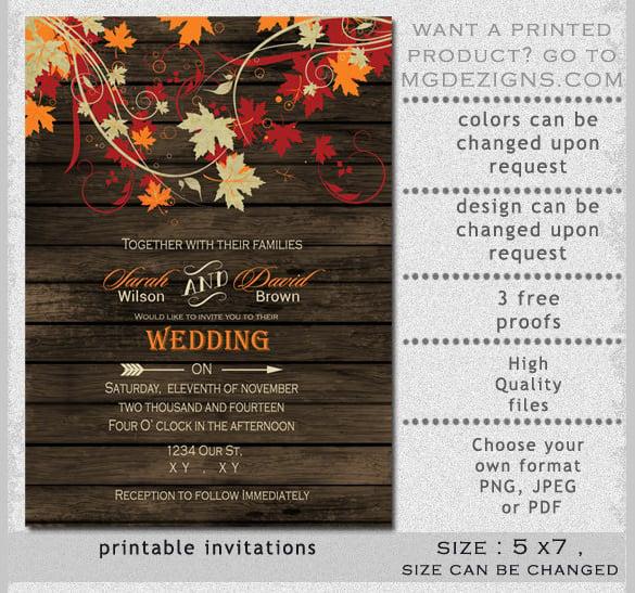 Barnwood Fall Leaves Wedding Invitation