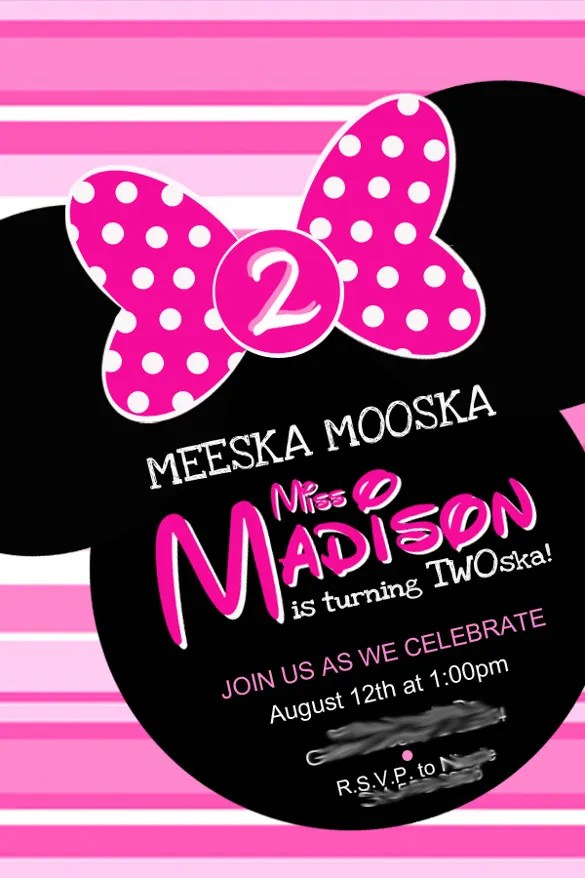 25 Minnie Mouse Invitation Template Free Sample