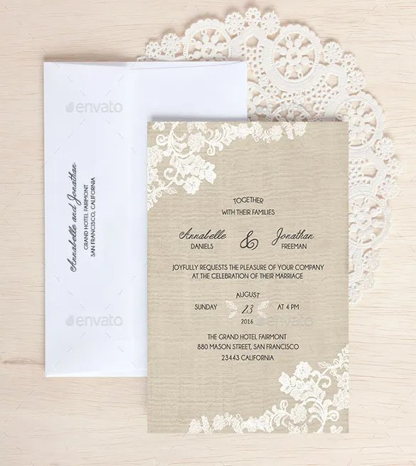 Set Of Three Colours Country Wedding Invitation