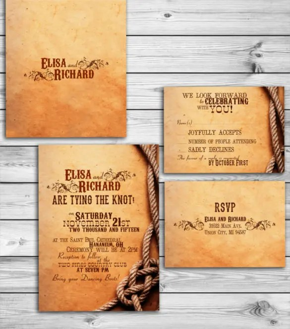 Back To Western Wedding Invitations Design