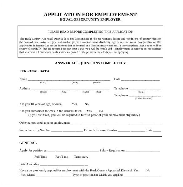 general employment application template