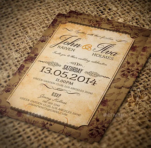 23 Vintage Wedding Invitation Free Psd Format