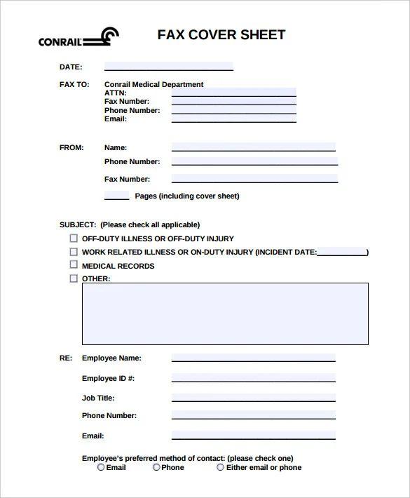 editable fax cover sheet template