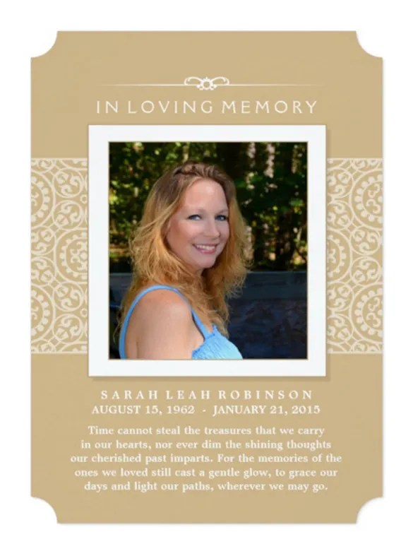 Memorial invitation cards paperinvite for Funeral memory cards free templates