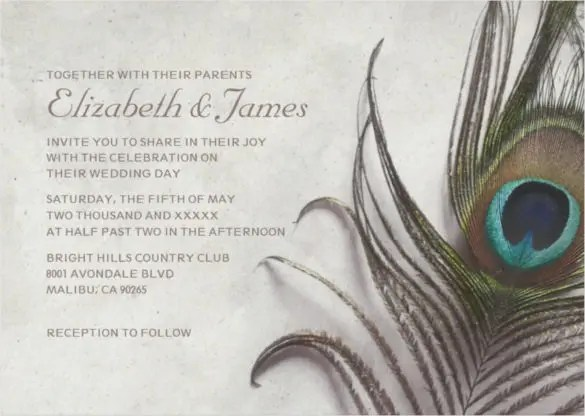Gold Dipped Feathers Wedding Invitations
