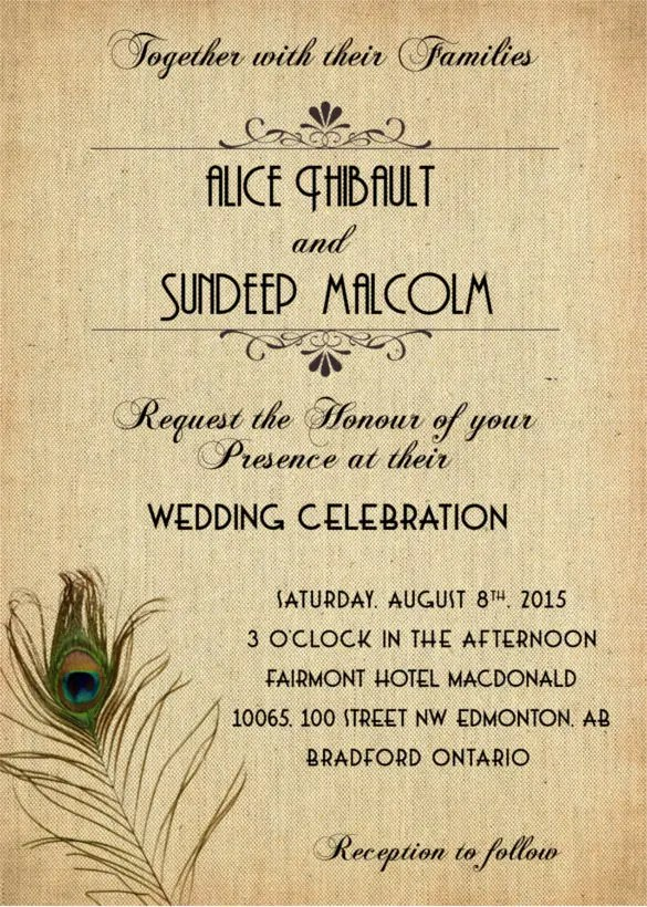 23 Peacock Wedding Invitation Templates Free Sample Example Format Download Free