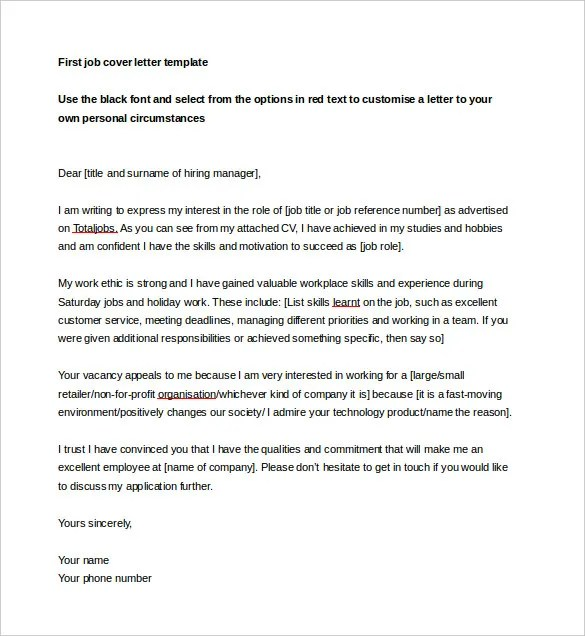 9 Job Cover Letter Templates – Free Sample Example