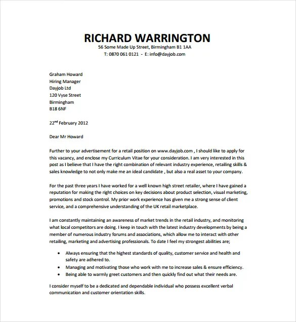 Free Cover Letter Templates Pdf Doc