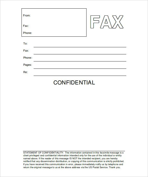 fax attention cover page