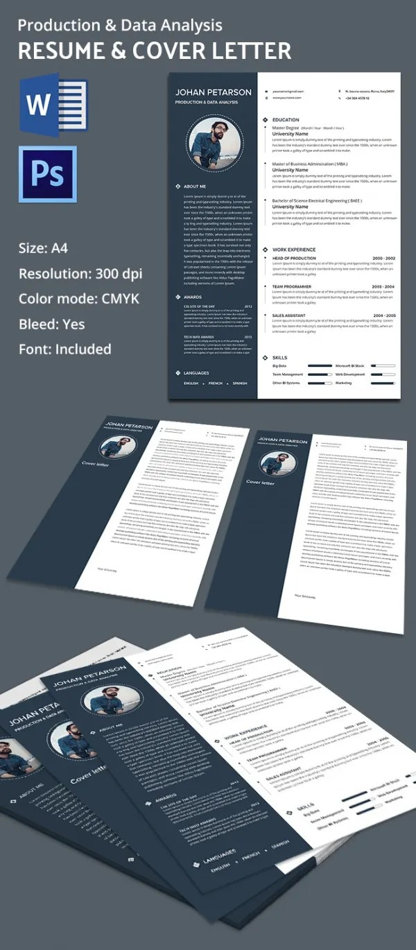 Creative Production & Data Analysis Resume + Cover Letter Template