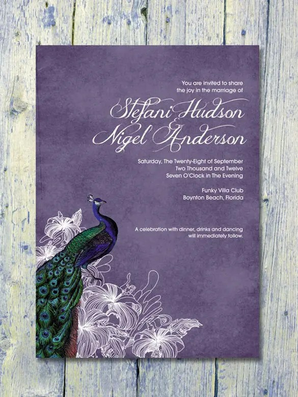13 Peacock Wedding Invitations PSD JPG Indesign  Free  Premium Templates