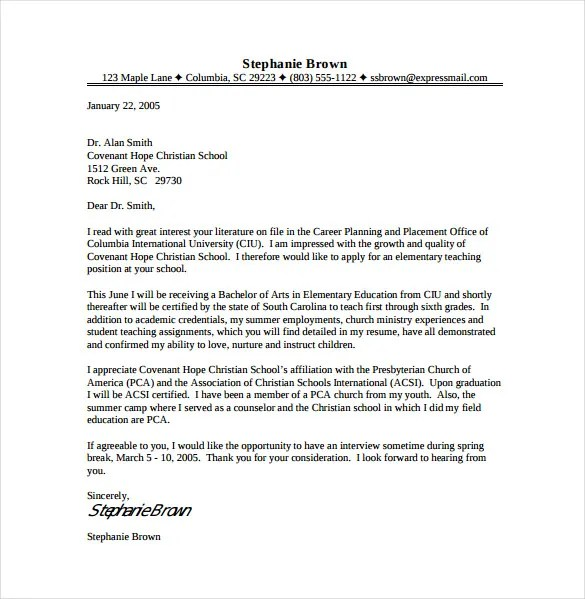 11 Teacher Cover Letter Templates – Free Sample Example Format