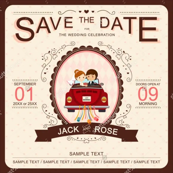 Bride And Groom In Red Car Funny Wedding Invitation