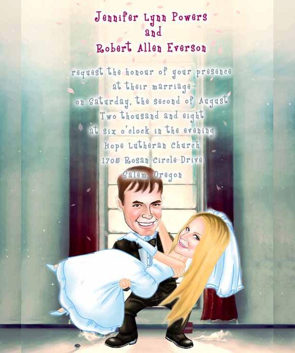 Cartoon Funny Wedding Invitation Template