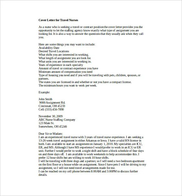 8 Nursing Cover Letter Templates  Free SampleExample Format Download  Free  Premium Templates