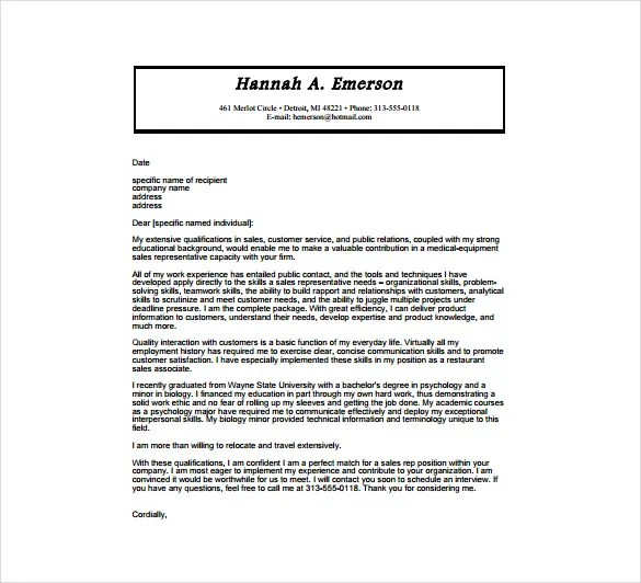 6 Medical Cover Letter Templates  Free Sample Example