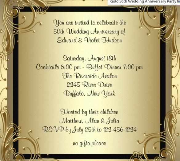 Elegant Gold 50th Wedding Anniversary Party Invitation To All