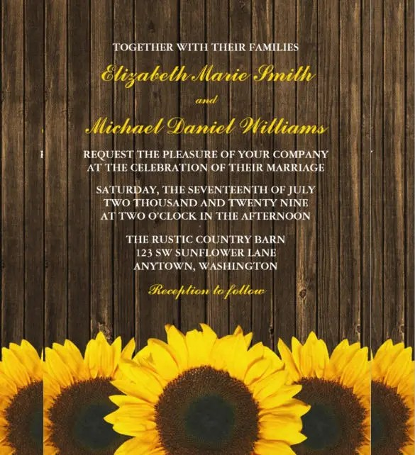 22 Sunflower Wedding Invitation Templates  PSD AI Word