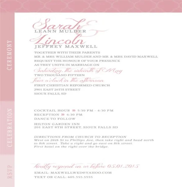 Tri Fold Wedding Invitation Rsvp