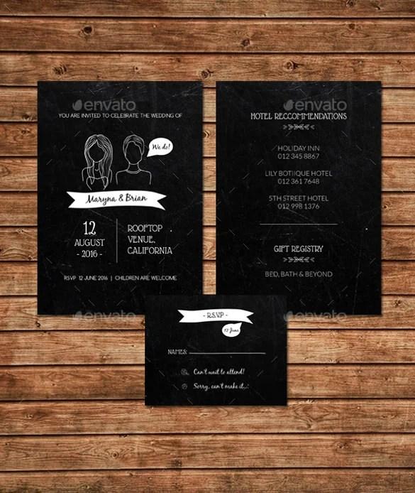 Chalkboard Wedding Invitation Set Psd Format