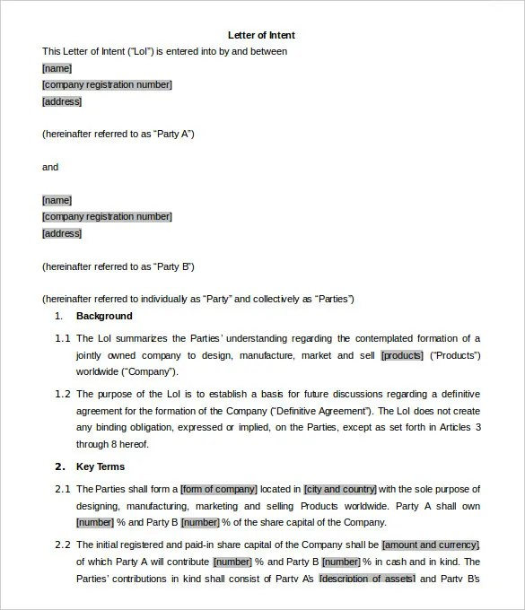 7 Business Letter Of Intent Word PDF Free & Premium