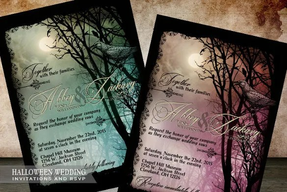 22 Halloween Wedding Invitation Templates  Free PSD AI